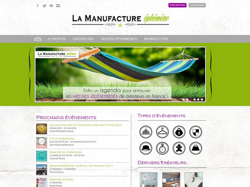 La manufacture éphémère – création du site Internet, annuaire et agenda