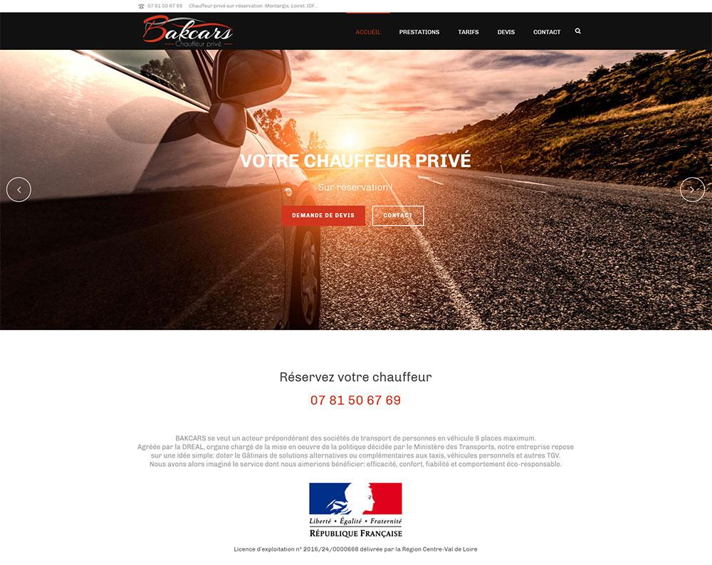 Référence création site commerce, e-commerce : Bakcars – Chauffeur privé