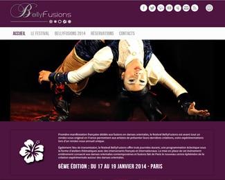 Référence création site Internet arts, spectacle, stylisme : Bellyfusions - Festival