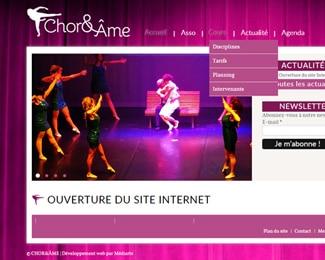 Référence création site sports, loisirs : Chor&Ame