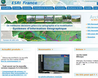 Référence création site Internet technologie, informatique : ESRI France