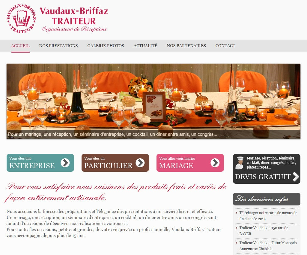 Référence création site commerce, e-commerce : Traiteur Vaudaux-Briffaz