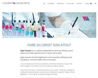 Référence création site commerce, e-commerce : Vigier Avocats – Droit des affaires, droit de la santé